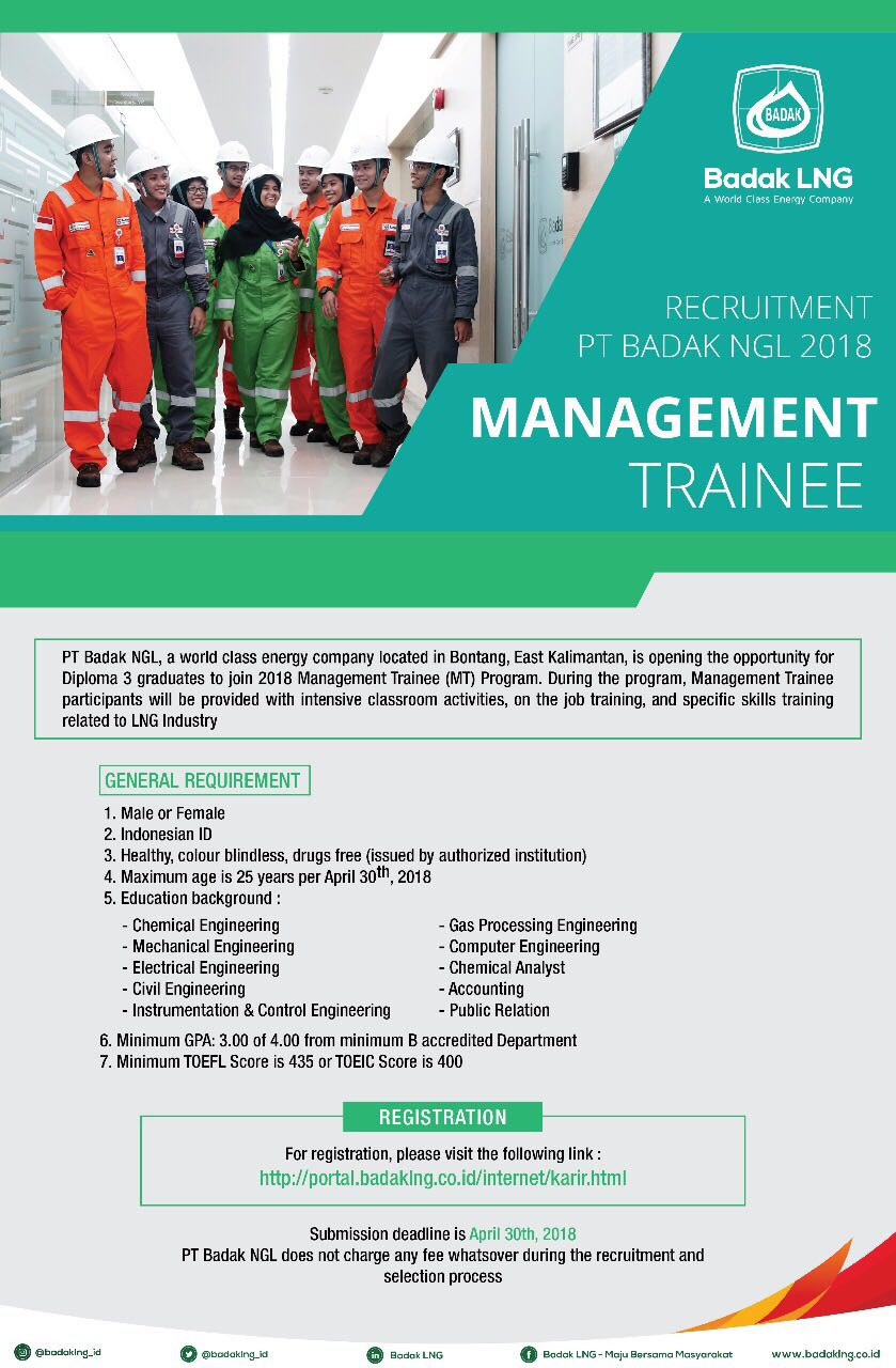 Recruitment Management Trainee D3 PT. BADAK LNG Bontang 2018