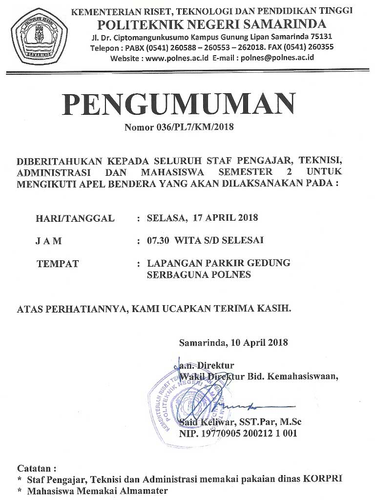 Informasi POLNES Politeknik Negeri Samarinda Ficial